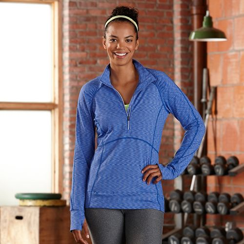 Womens R-Gear Set The Stage Striped Long Sleeve 1/2 Zip Technical Tops - Sapphire M ...