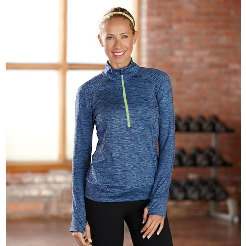 Womens R-Gear Set The Stage Striped Long Sleeve 1/2 Zip Technical Tops - Blue Lagoon ...