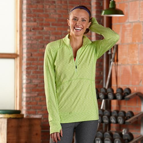 Womens R-Gear Set The Stage Striped Long Sleeve 1/2 Zip Technical Tops - Lemon Lime S