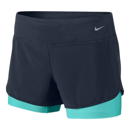 Womens Nike Perforated Rival 2-in-1Shorts - Obsidian/Light Aqua L