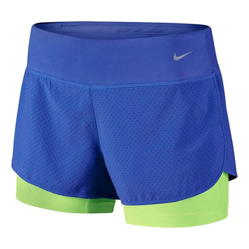 Womens Nike Perforated Rival 2-in-1Shorts - Royal/Lime L