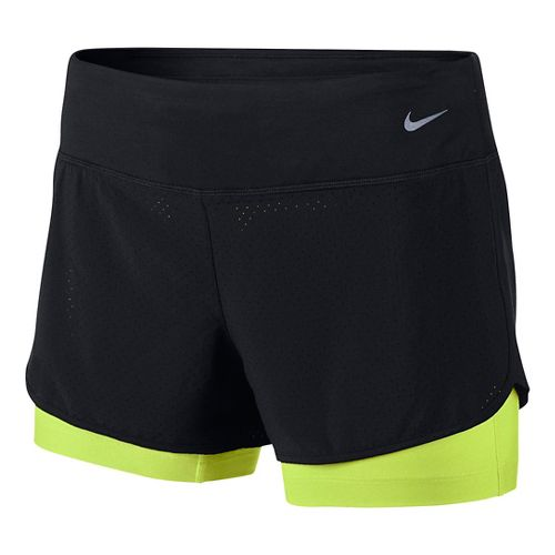Womens Nike Perforated Rival 2-in-1Shorts - Black/Volt XS