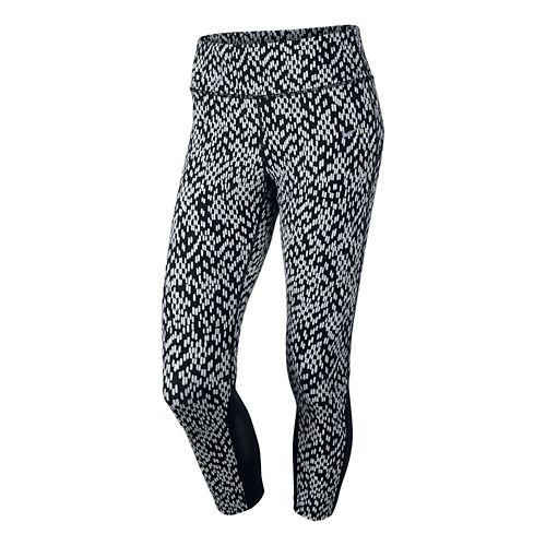 Women's Nike Printed Epic Lux Crop 2 Capri Tights - Hot Lava/Black M