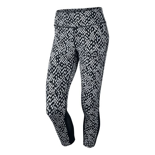Women's Nike Printed Epic Lux Crop 2 Capri Tights - Black/White XL