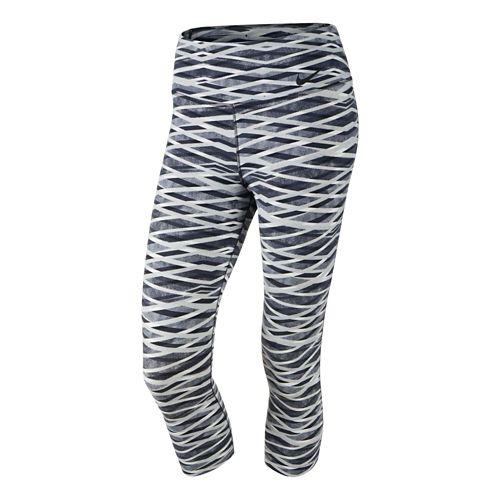 Womens Nike Legend Criss Cross Capri Tights - Blue Graphite/Black XS