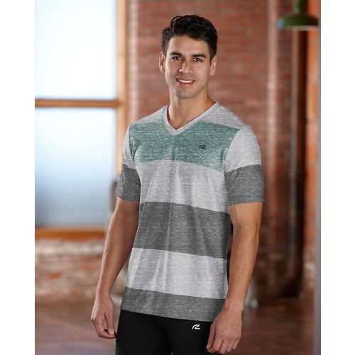 Mens R-Gear Rock Solid Stripe Tee Short Sleeve Technical Top - Heather Cinderblock L