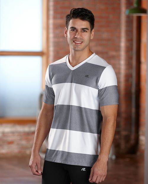 Mens R-Gear Rock Solid Stripe Tee Short Sleeve Technical Top - White/Heather Charcoal XL