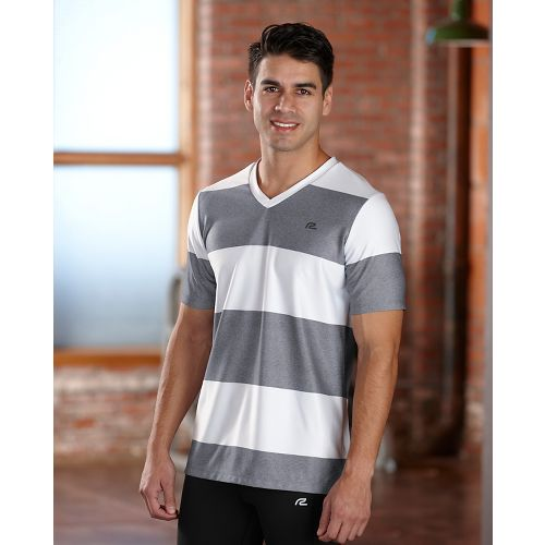 Mens R-Gear Rock Solid Stripe Tee Short Sleeve Technical Top - White/Heather Charcoal XXL