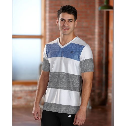 Mens R-Gear Rock Solid Stripe Tee Short Sleeve Technical Top - White M