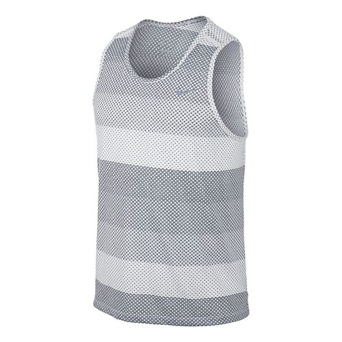 Mens Nike DF Cool Tailwind Stripe Tanks Technical Top - White L