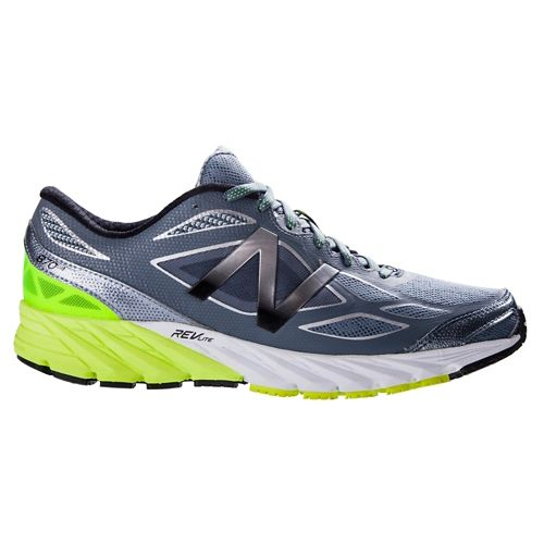 Mens New Balance 870v4 Running Shoe - Grey/Yellow 12