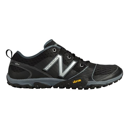 Mens New Balance Minimus 10v3 Trail Running Shoe - Black/Silver 12.5