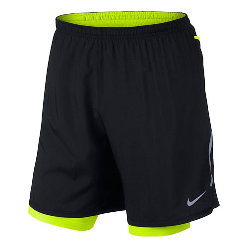 Mens Nike DF Phenom Vapor 2-in-1 Short - Black/Volt M