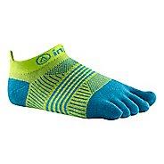 Womens Injinji RUN Lightweight No Show CoolMax Socks - Neon Green/Turquoise M/L
