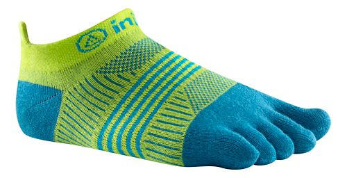 Womens Injinji RUN Lightweight No Show CoolMax Socks - Neon Green/Turquoise XS/S