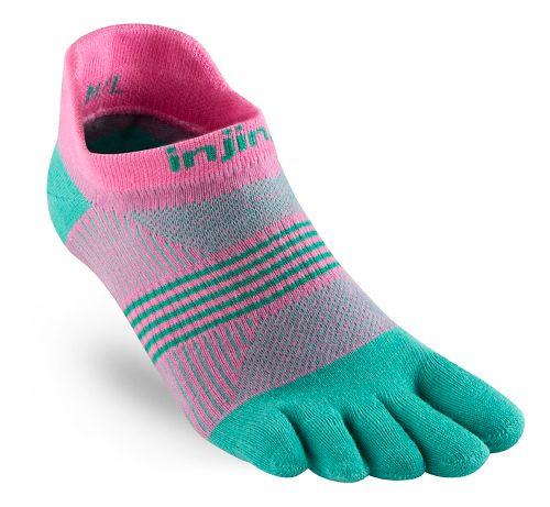 Womens Injinji RUN Lightweight No Show CoolMax Socks - Carnation M/L