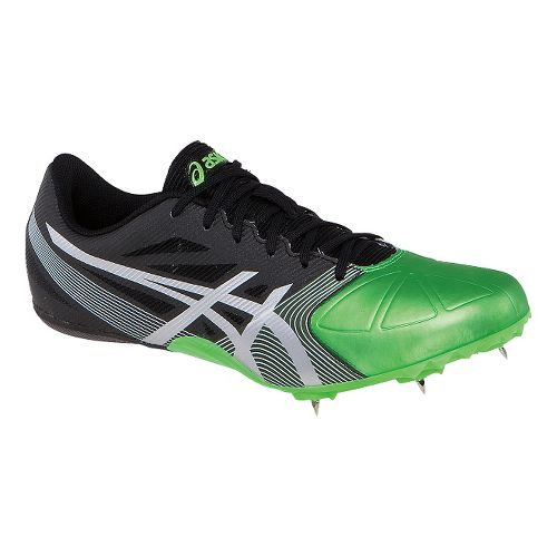 Mens ASICS Hypersprint 6 Track and Field Shoe - Onyx/Flash Green 10.5
