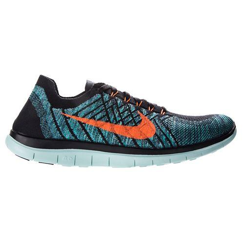Mens Nike Free 4.0 Flyknit Running Shoe - Black/Jade 11.5