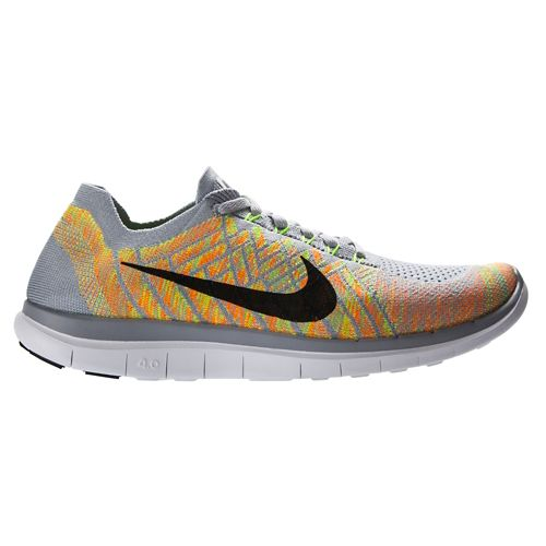 Mens Nike Free 4.0 Flyknit Running Shoe - Grey/Volt 12.5