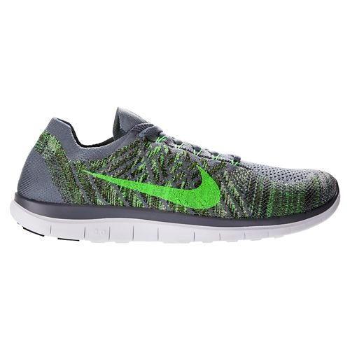 Mens Nike Free 4.0 Flyknit Running Shoe - Grey/Green 10.5