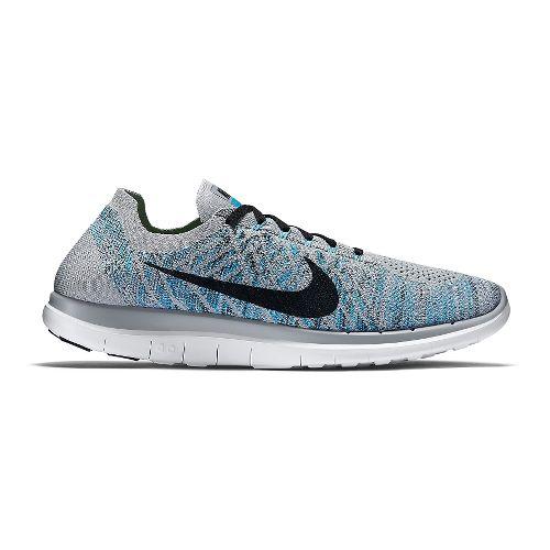 Mens Nike Free 4.0 Flyknit Running Shoe - Grey/Blue 13