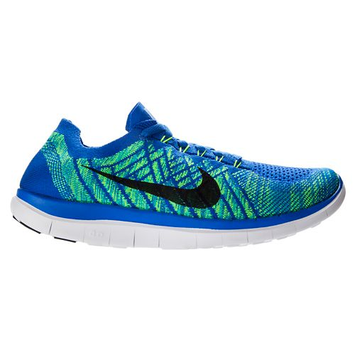 Mens Nike Free 4.0 Flyknit Running Shoe - Blue 9.5