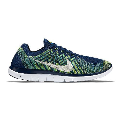 Mens Nike Free 4.0 Flyknit Running Shoe - Blue/Volt 12