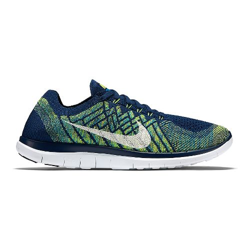 Mens Nike Free 4.0 Flyknit Running Shoe - Blue/Volt 12.5