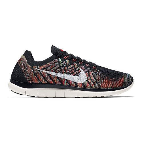 Mens Nike Free 4.0 Flyknit Running Shoe - Grey/Green 8.5