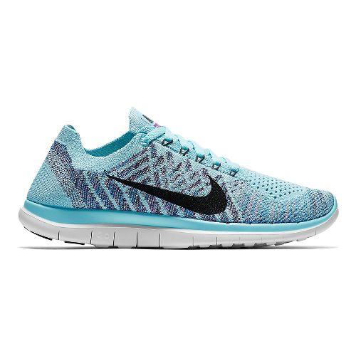 Womens Nike Free 4.0 Flyknit Running Shoe - Blue/Purple 9