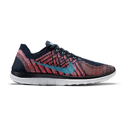 Womens Nike Free 4.0 Flyknit Running Shoe - Black/Multi 8.5