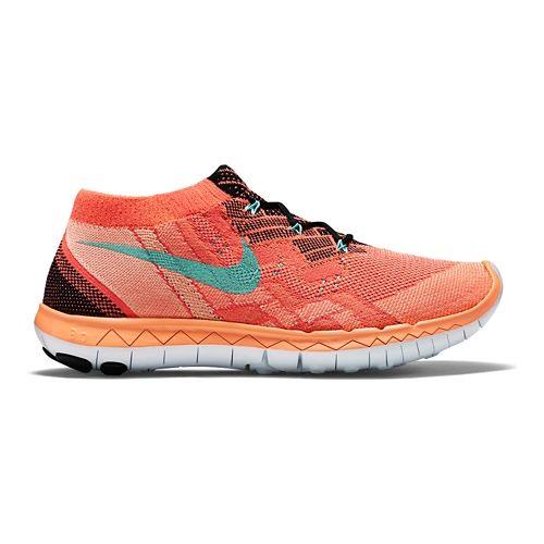 Womens Nike Free 3.0 Flyknit Running Shoe - Lava/Mango 6.5