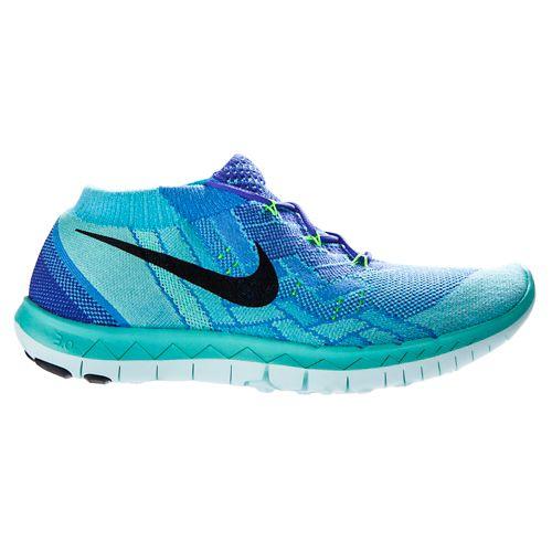 Womens Nike Free 3.0 Flyknit Running Shoe - Violet/Blue 11
