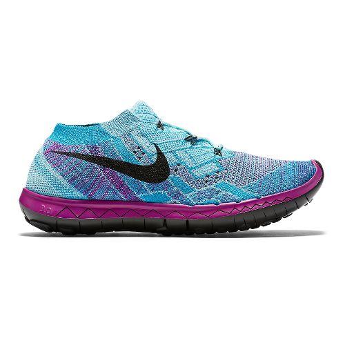 Womens Nike Free 3.0 Flyknit Running Shoe - Violet/Blue 6.5