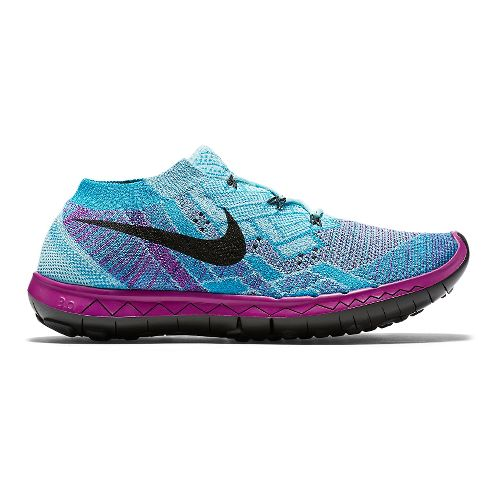 Womens Nike Free 3.0 Flyknit Running Shoe - Violet/Blue 7.5