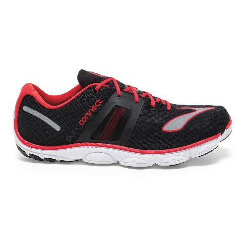 Mens Brooks PureConnect 4 Running Shoe - Black/High Risk Red 11