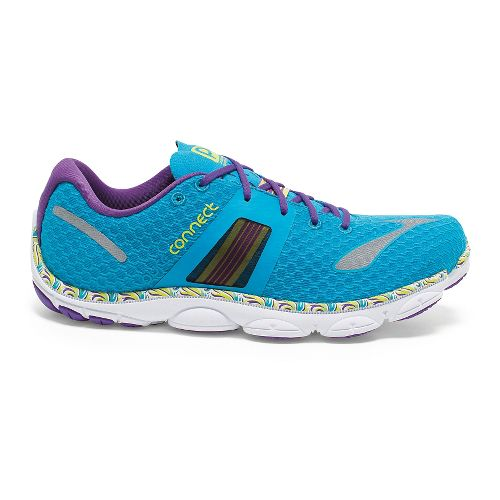 Womens Brooks PureConnect 4 Running Shoe - Blue/Lime 10.5