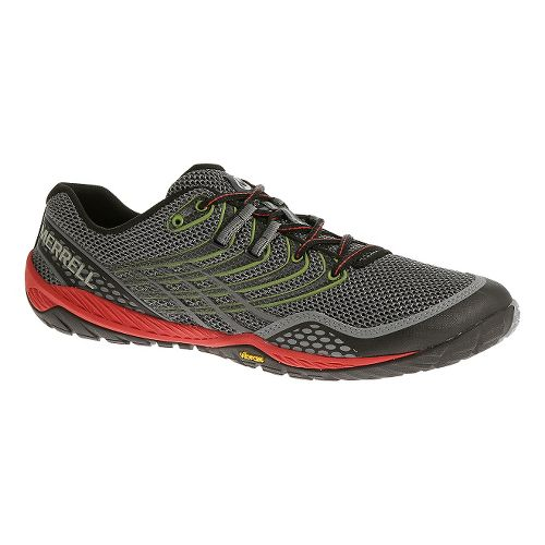 Mens Merrell Trail Glove 3 Trail Running Shoe - Grey/Red 11.5