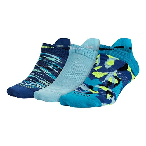 Womens Nike Dri-FIT Graphic No Show 3 pack Socks - Blue M