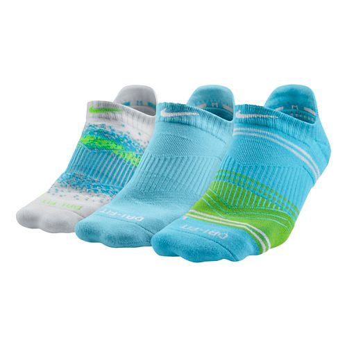 Womens Nike Dri-FIT Graphic No Show 3 pack Socks - Teal Assorted M