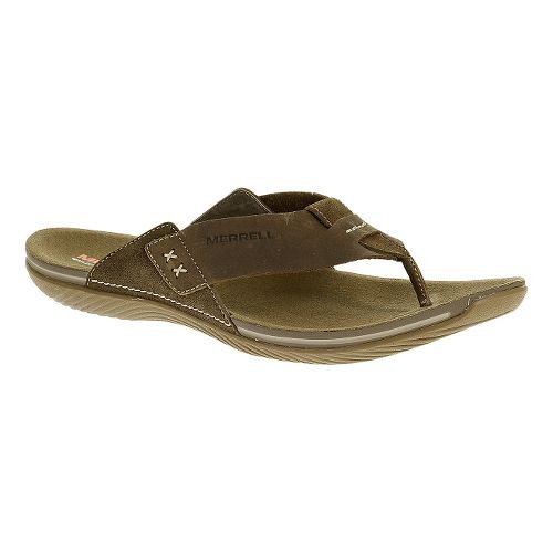 Mens Merrell Bask Thong Sandals Shoe - Moss 15