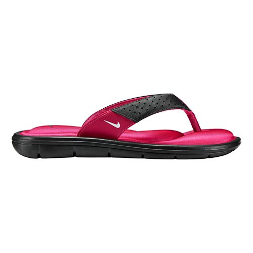 Womens Nike Comfort Thong Sandals Shoe - Black/Pink 10