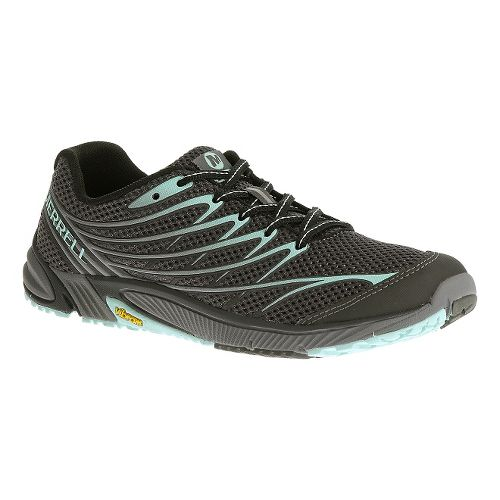Womens Merrell Bare Access Arc 4 Trail Running Shoe - Black/Light Blue 7.5