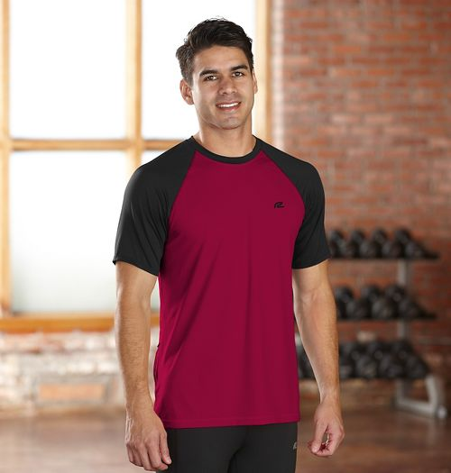 Mens R-Gear Base Runner Short Sleeve Technical Top - Run Burgundy/Black S
