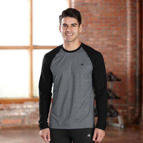 Mens R-Gear Base Runner Long Sleeve No Zip Technical Tops - Charcoal/Black M