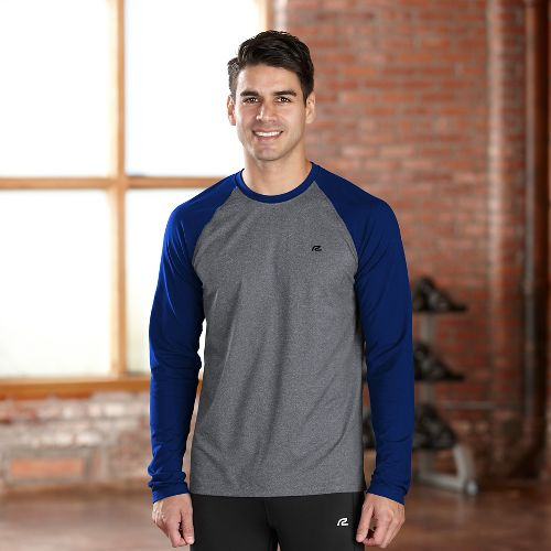 Mens R-Gear Base Runner Long Sleeve No Zip Technical Tops - Charcoal/Midnight Bl L
