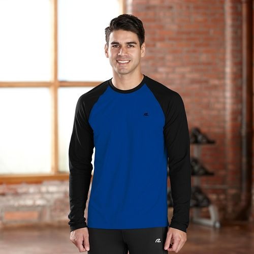 Mens R-Gear Base Runner Long Sleeve No Zip Technical Tops - Charcoal/Midnight Blue L