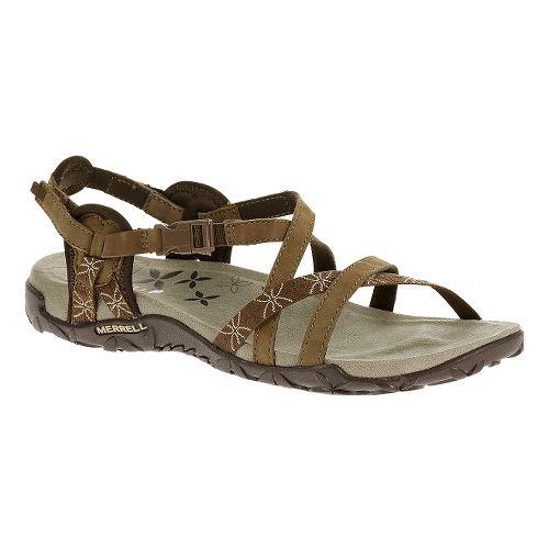 Womens Merrell Terran Lattice Sandals Shoe - Dark Earth 5