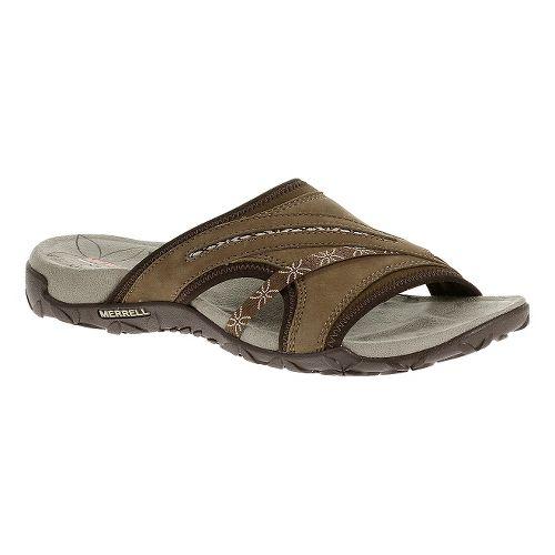 Womens Merrell Terran Slide Sandals Shoe - Dark Earth 5