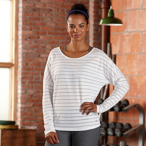 Womens R-Gear Stripe Hype Long Sleeve Technical Tops - White M